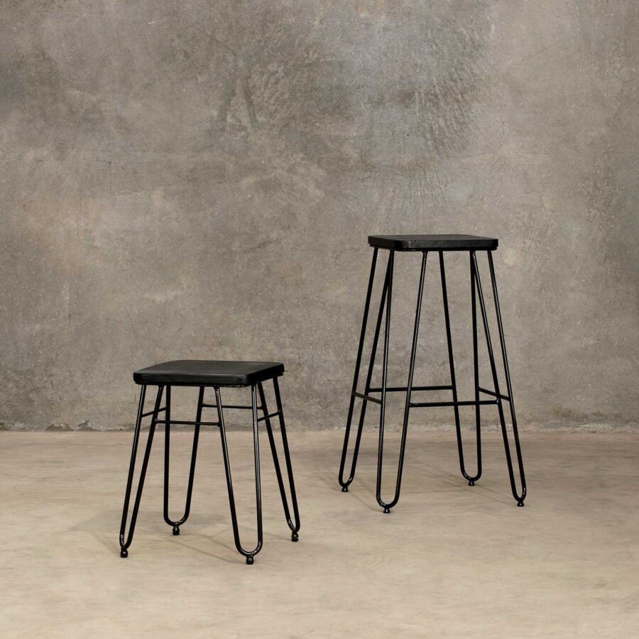 Manhattan Hairpin Bar Stool - Black Top, Black Frame