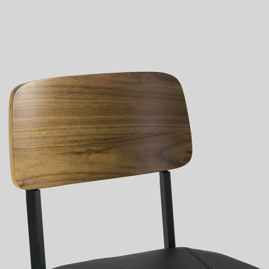 Caprice Counter Stool - Black Frame, Walnut Backrest