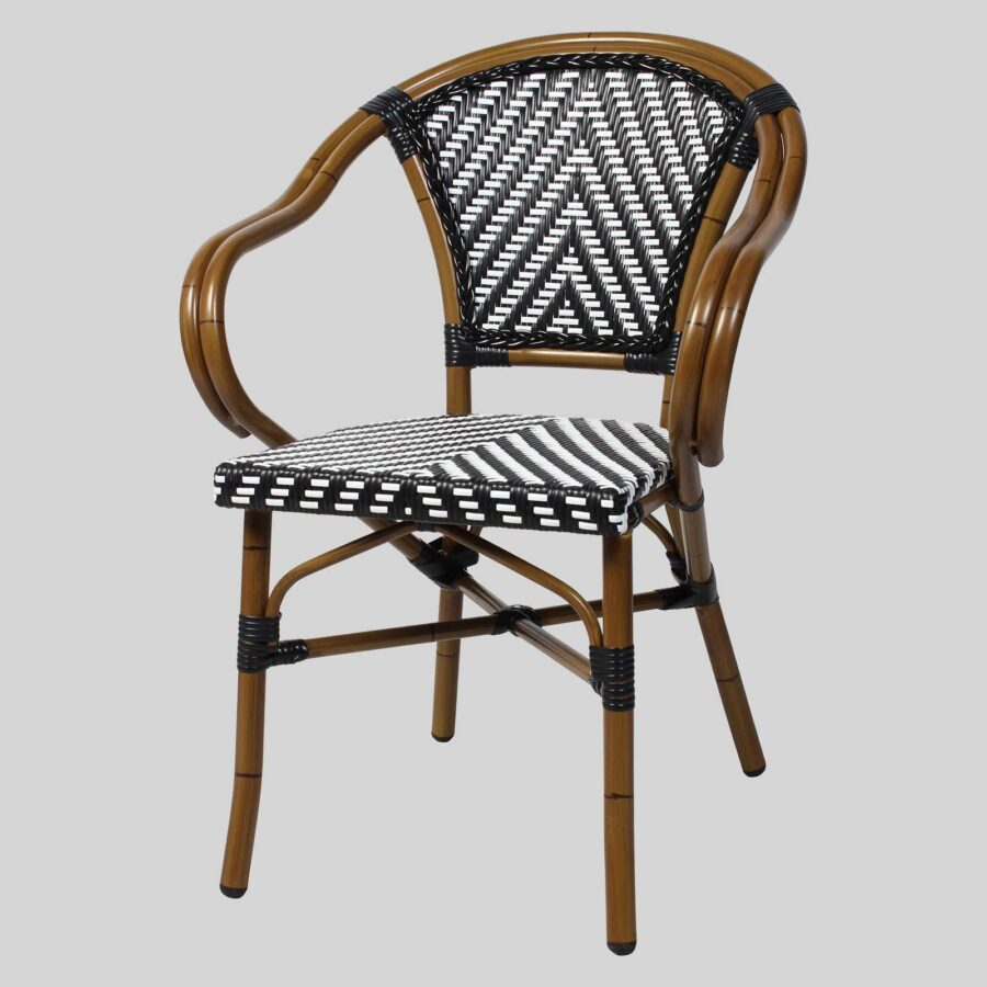 Jasmine French Restaurant Furniture - Chevron - Black/White