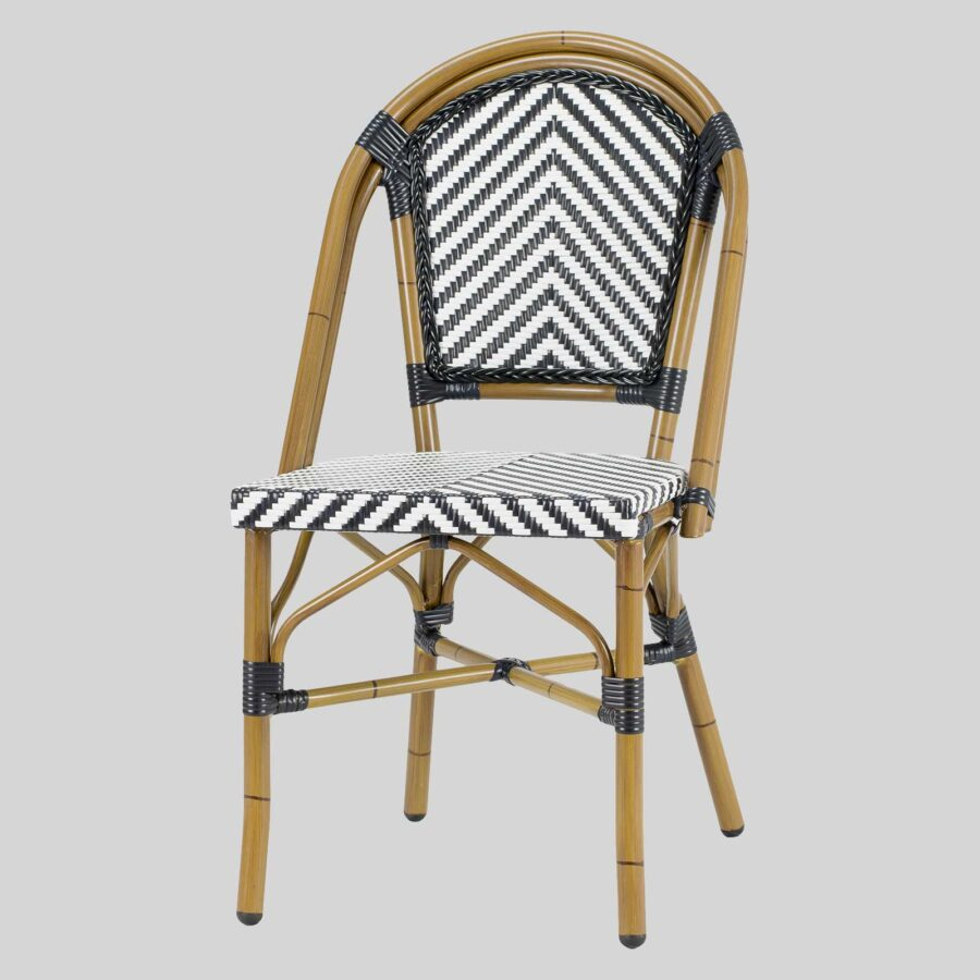 Jasmine French Dining Chairs - Black/White Chevron