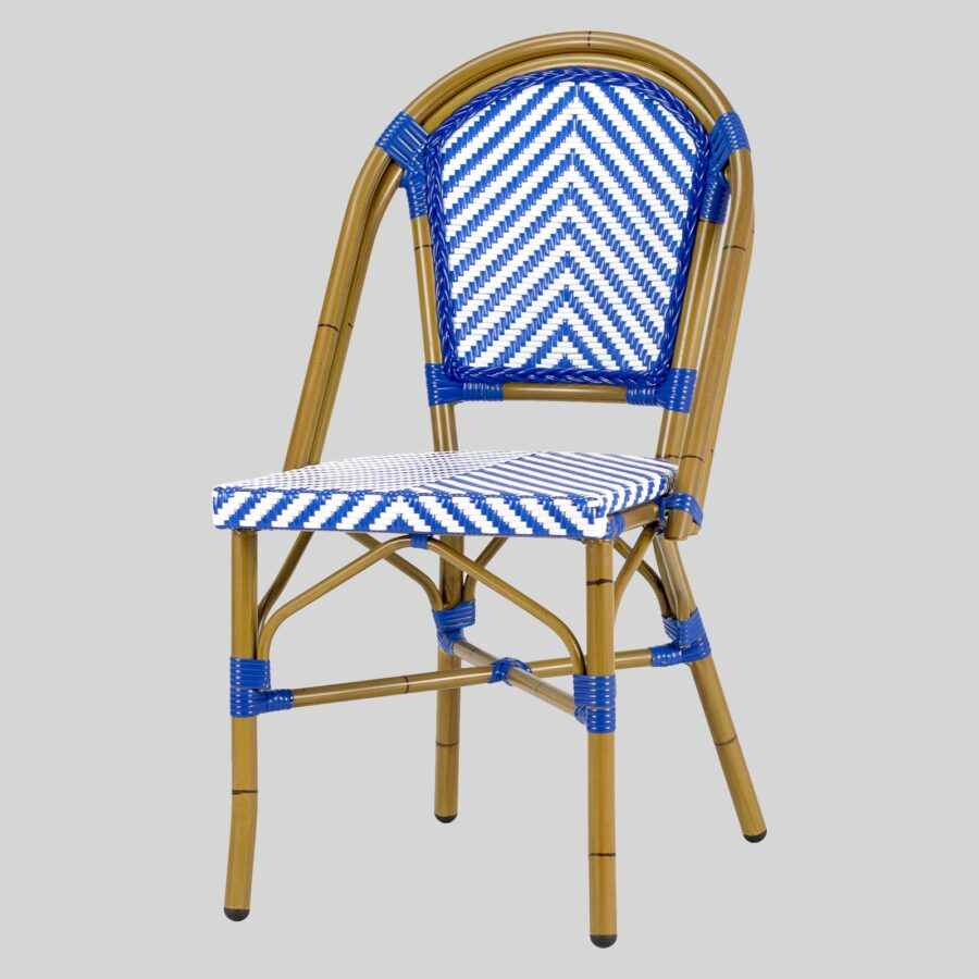 Jasmine French Dining Chairs - Blue/White Chevron