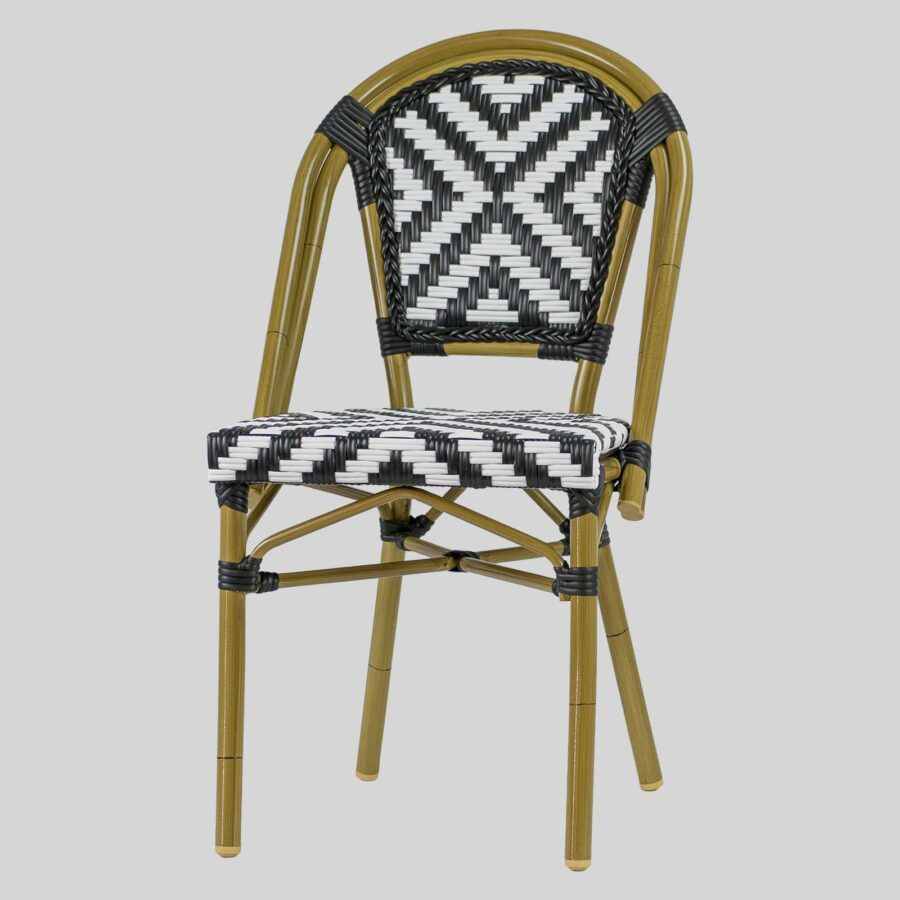 Jasmine French Dining Chairs - Black/White Cross Weave