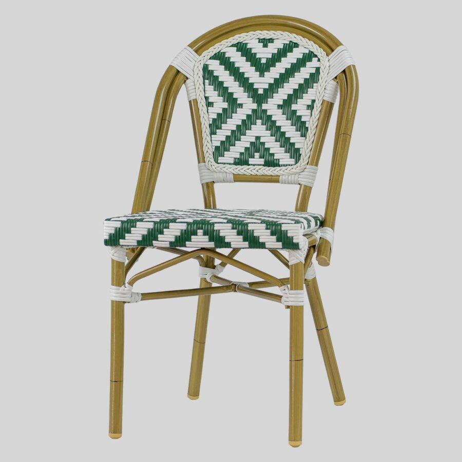 Jasmine French Dining Chairs - Green/White Cross Weave