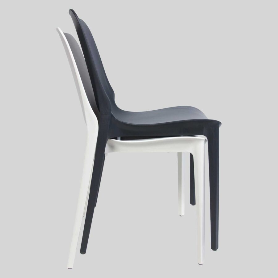 Jennifer cafe dining chairs - Anthracite and White