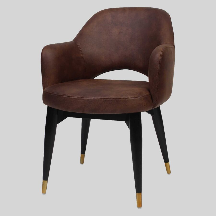 Mulberry Armchair Eastwood - Bison, Wood 4-Leg - Black with Brass Tips