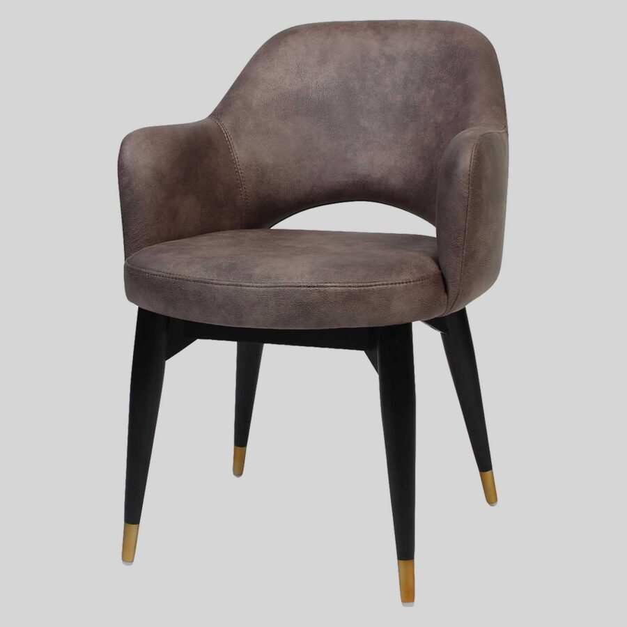 Mulberry Armchair Donkey - Bison, Wood 4-Leg - Black with Brass Tips