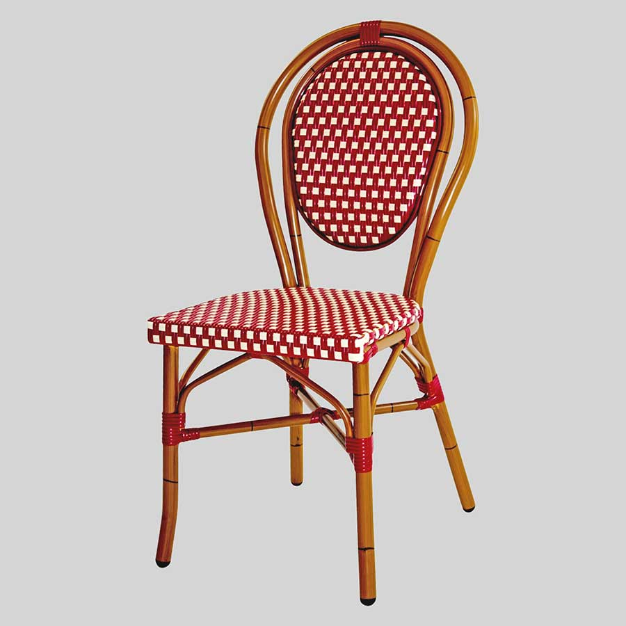 Palace French Cafe Chairs - Red/Cream