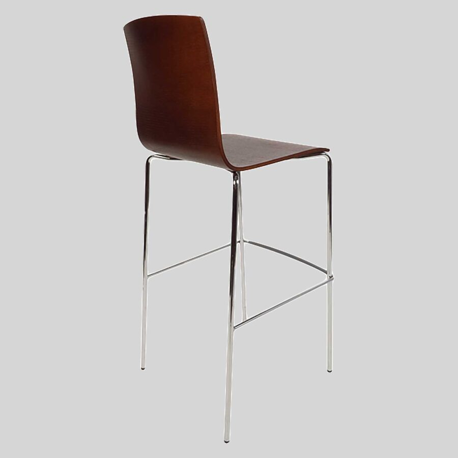 Palais Hospitality Barstool - Back - Chrome/Walnut