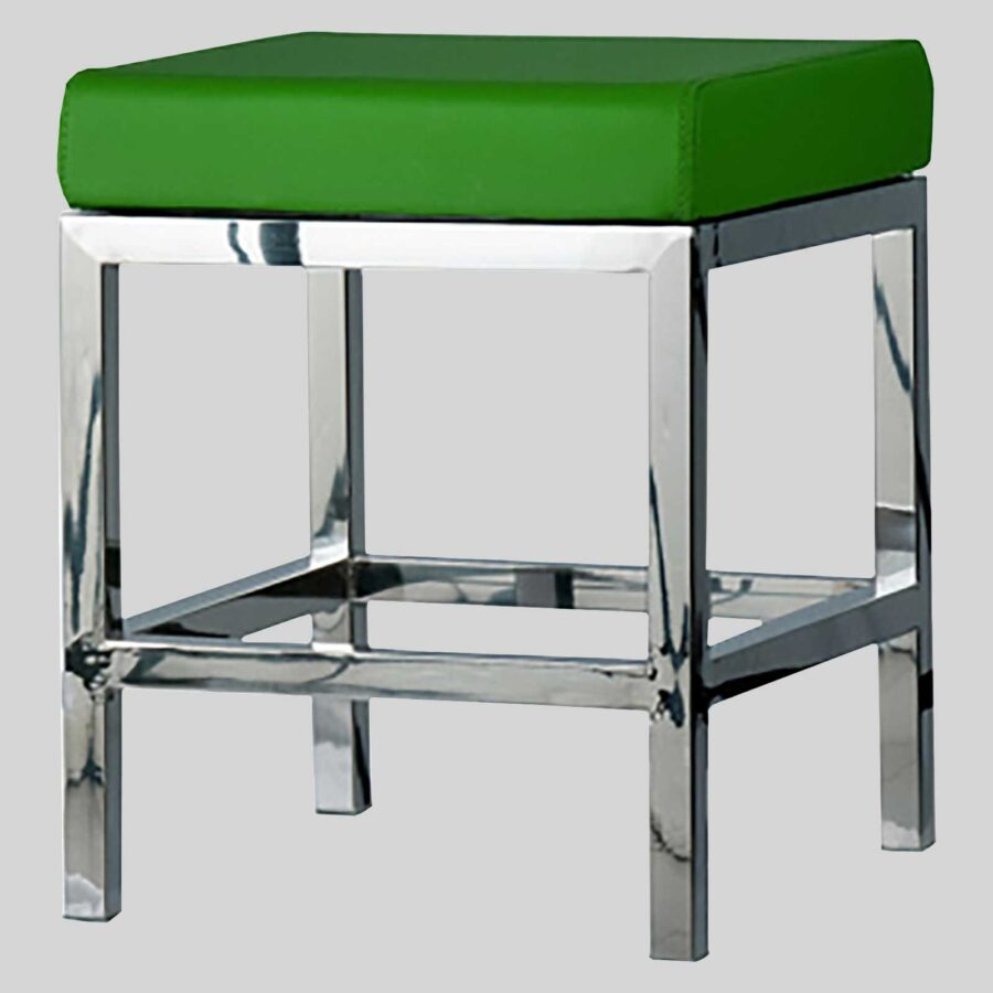 Quentin Low Stool - Polished Frame, Green, Seat