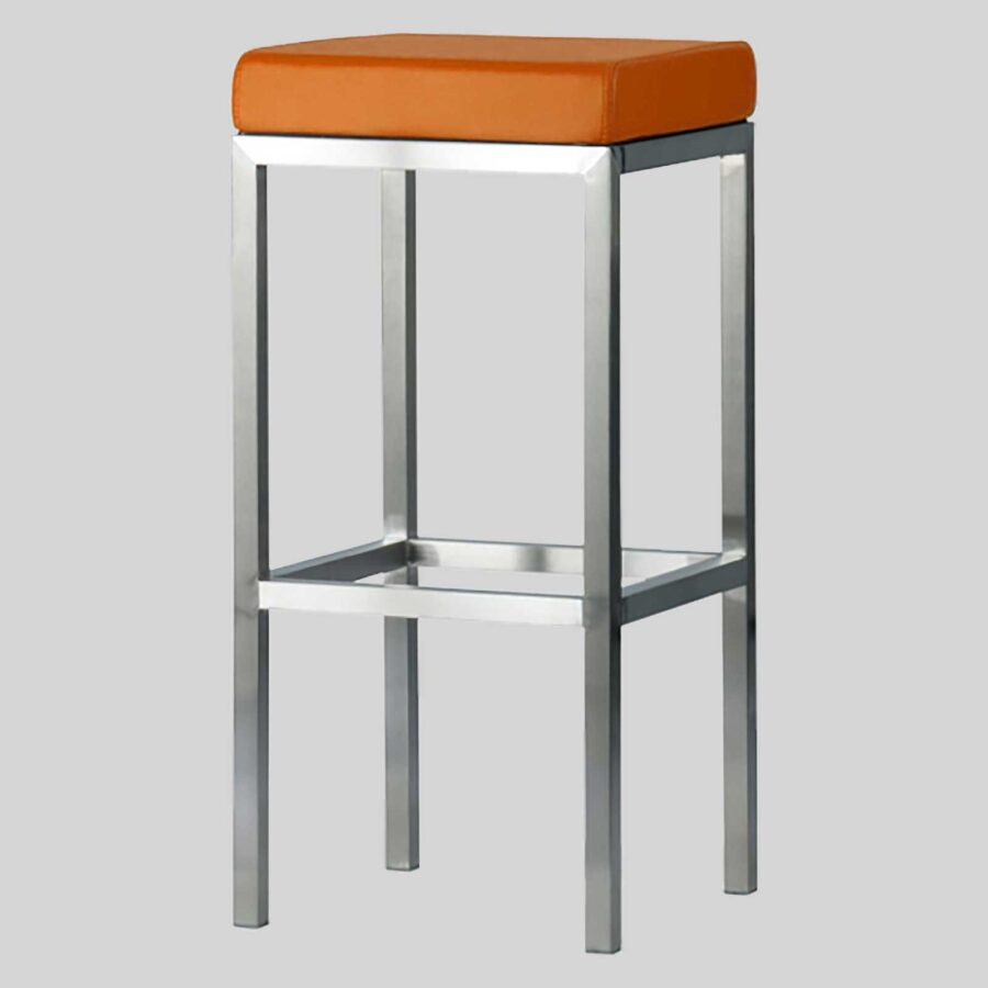 Quentin bar seats - Brushed Frame, Orange Seat