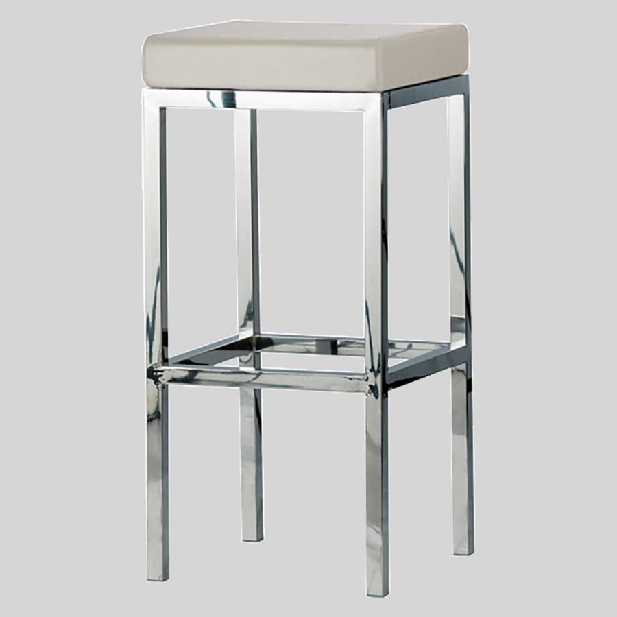 Quentin bar seats - Polished Frame, Off-White Seat