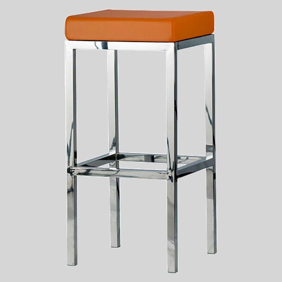 Quentin bar seats - Polished Frame, Orange Seat