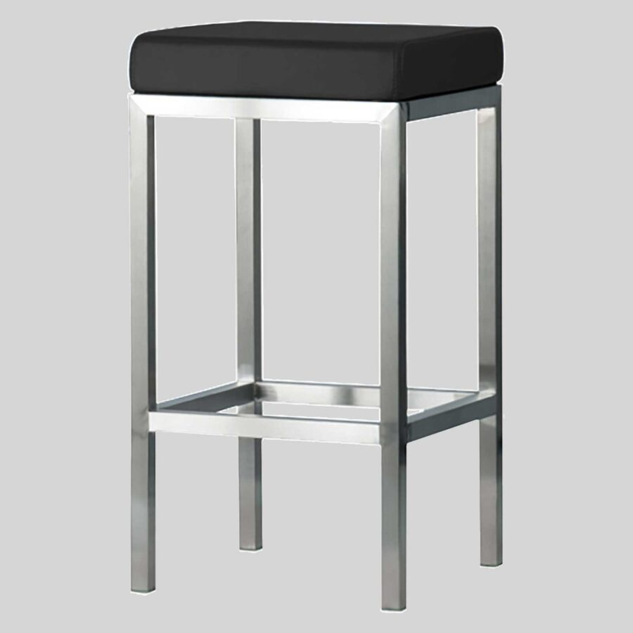 Quentin Counter Stool - Brushed Frame, Black Seat