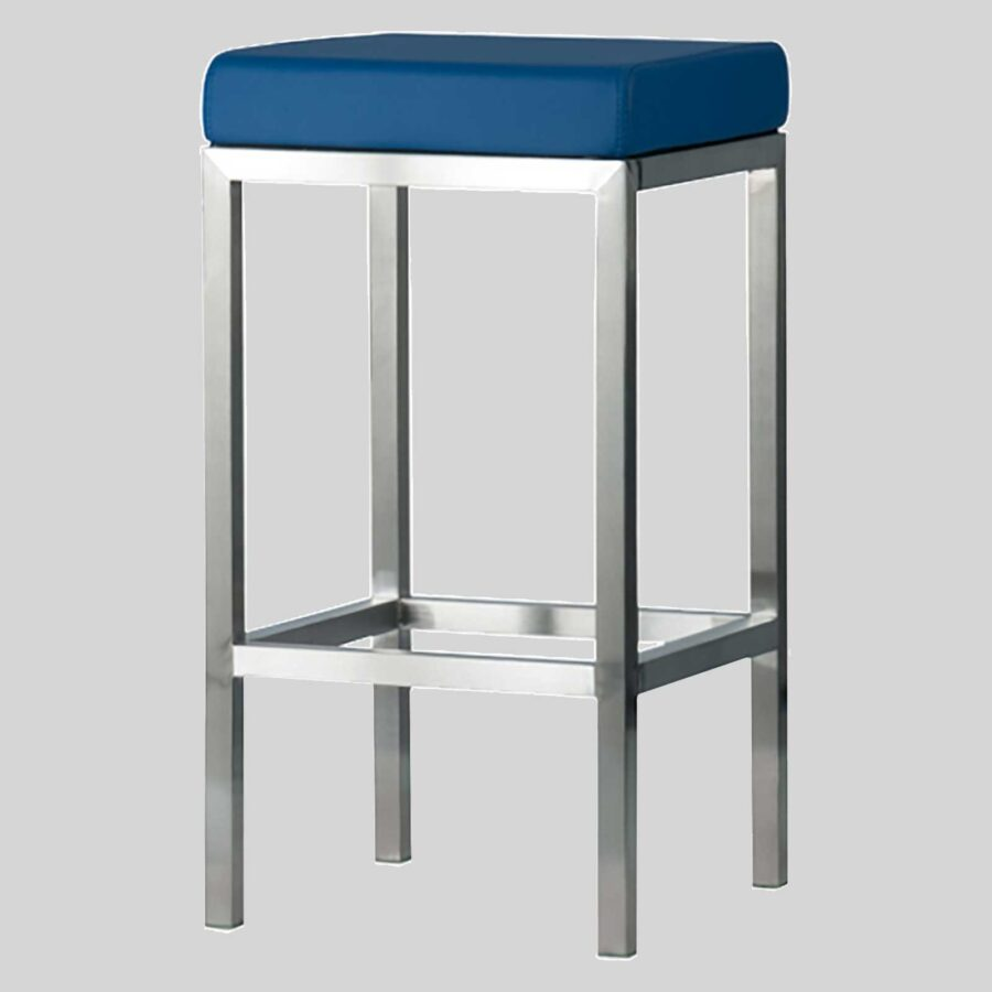 Quentin Counter Stool - Brushed Frame, Blue Seat