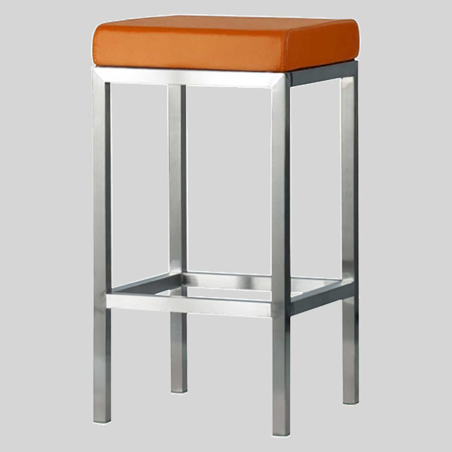 Quentin Counter Stool - Brushed Frame, Orange Seat