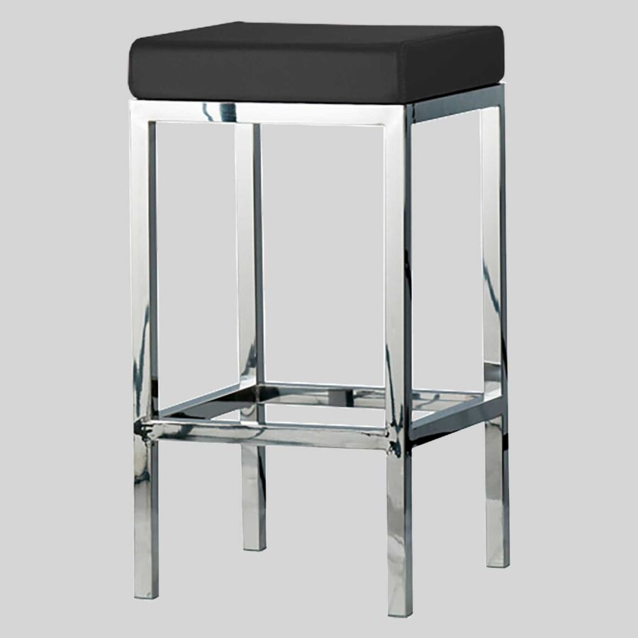 QuentinCounter Stool- Polished Frame, Black Seat