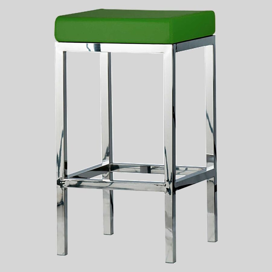 QuentinCounter Stool - Polished Frame, Green Seat