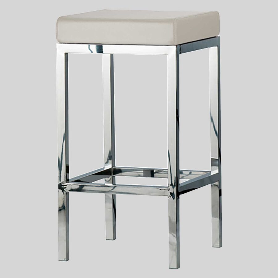 Quentin Counter Stool - Polished Frame, Off-White Seat