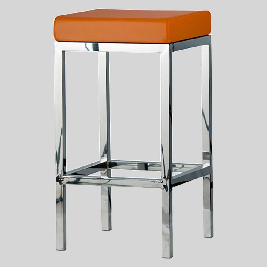 QuentinCounter Stool - Polished Frame, Orange Seat