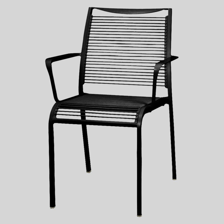 Waverly Outdoor Cafe Chairs with Arms - Black