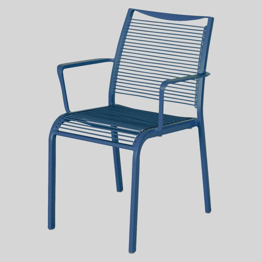 Waverly Outdoor Cafe Chairs with Arms - Blue