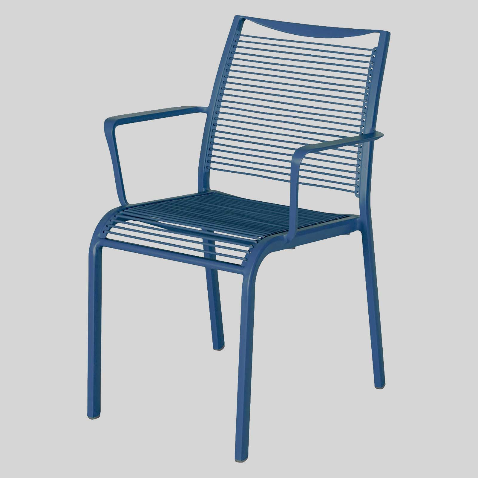 Waverly outdoor cafe chairs with arms blue
