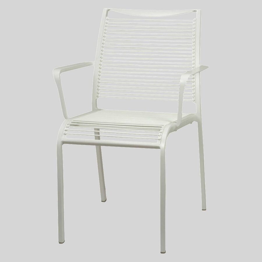 Waverly Outdoor Cafe Chairs with Arms - White