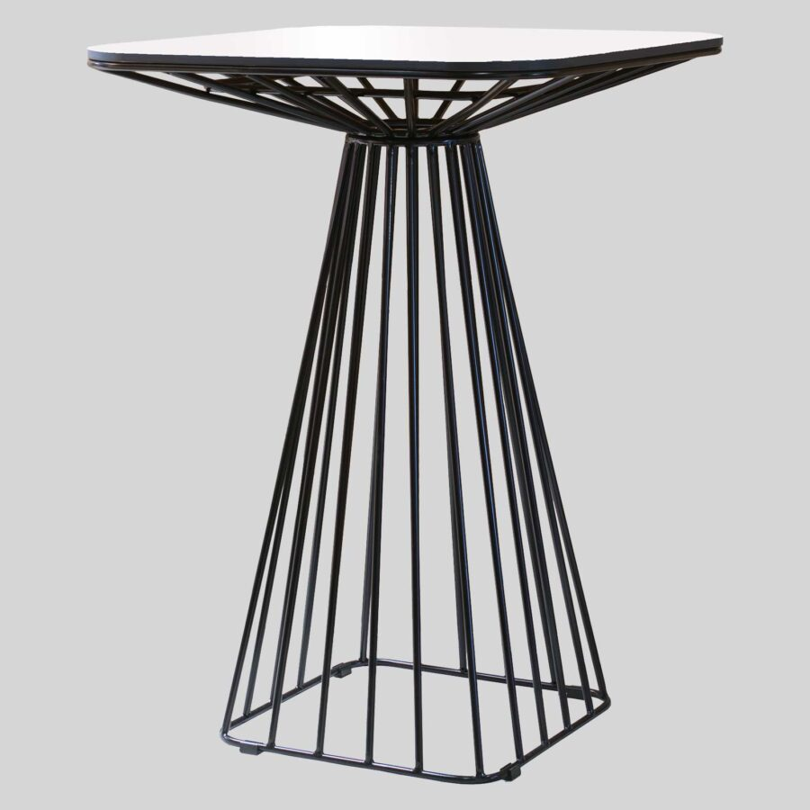 Gauge Wire Bar Table - White/Black