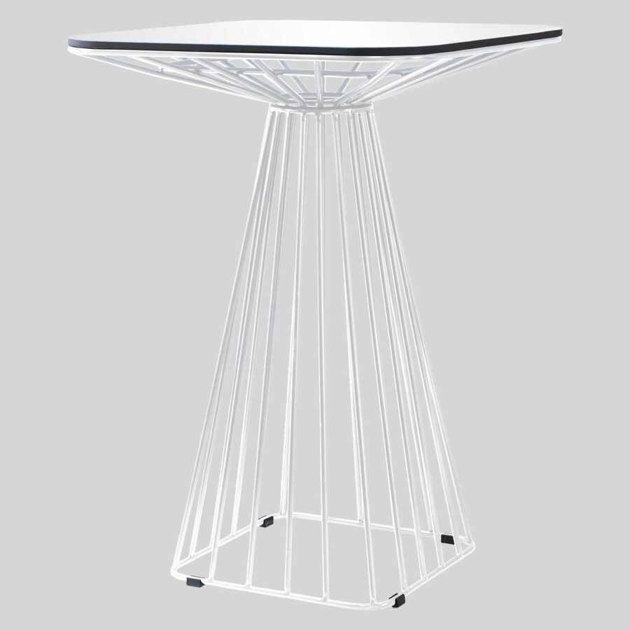 Gauge Wire Bar Table - White/White