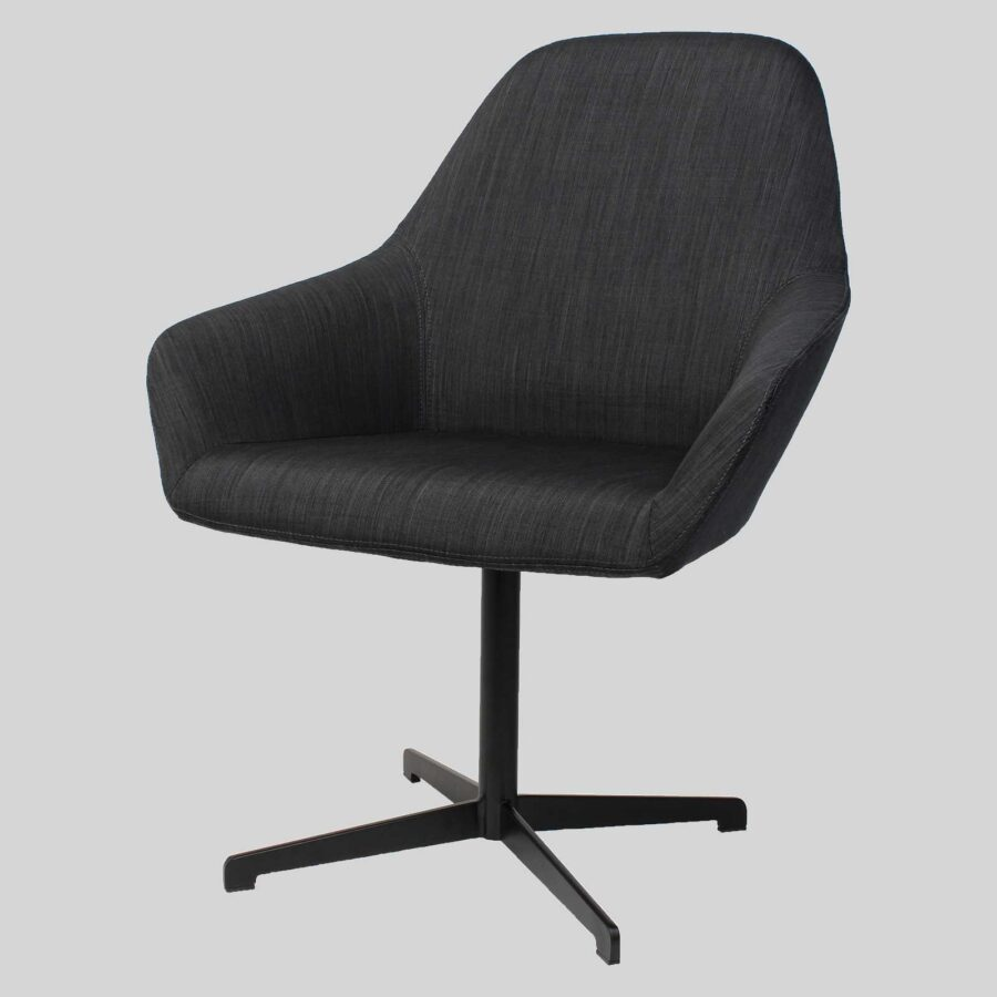 Monte Tub Chair - Charcoal-Fabric, 4-way Blade // Black