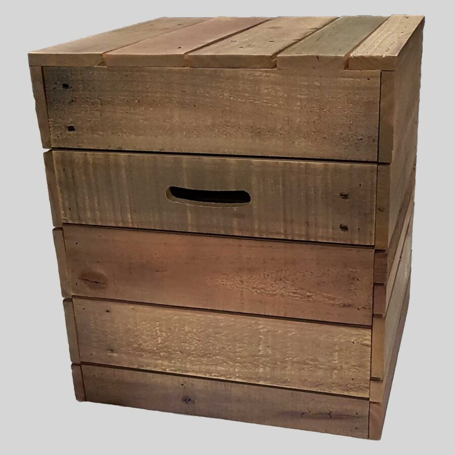 Recycled timber low stool - Crate