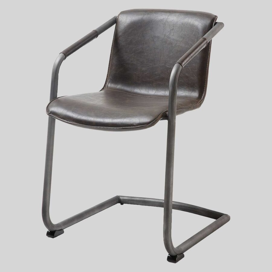 Crion Leather Look Dining Armchair - Dark Brown