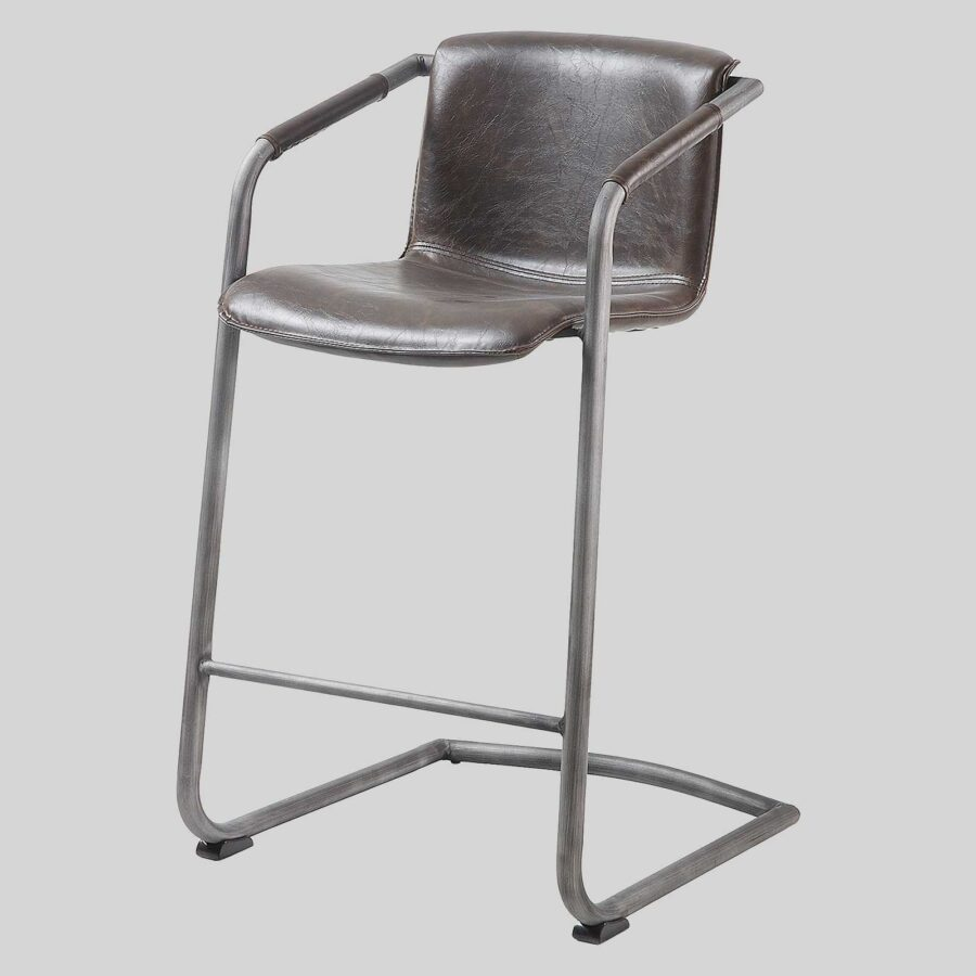 Crion Leather Look Counter Stool - Dark Brown
