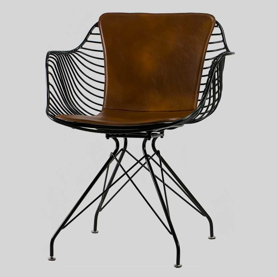 Bronx Wire Armchair with Saddle Pad - Black