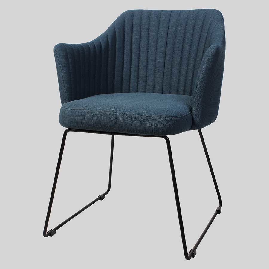 Kuji Armchair Blue Fabric - Black Sled Frame