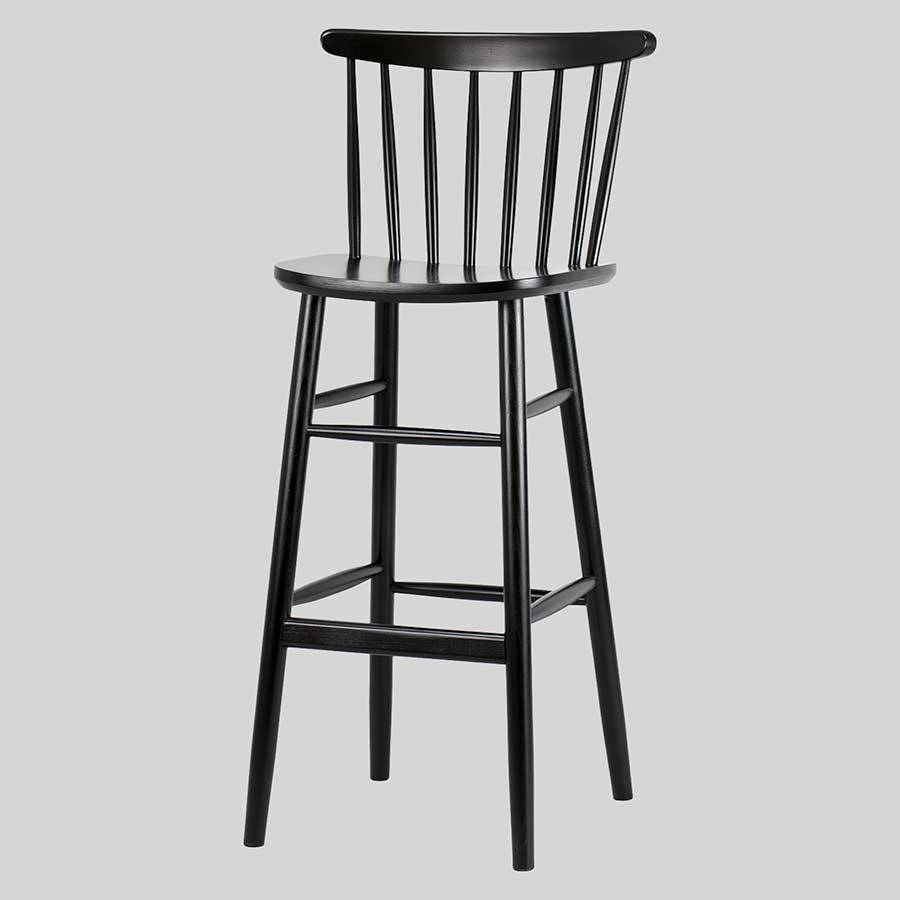 Spoke back timber bar stool - Black