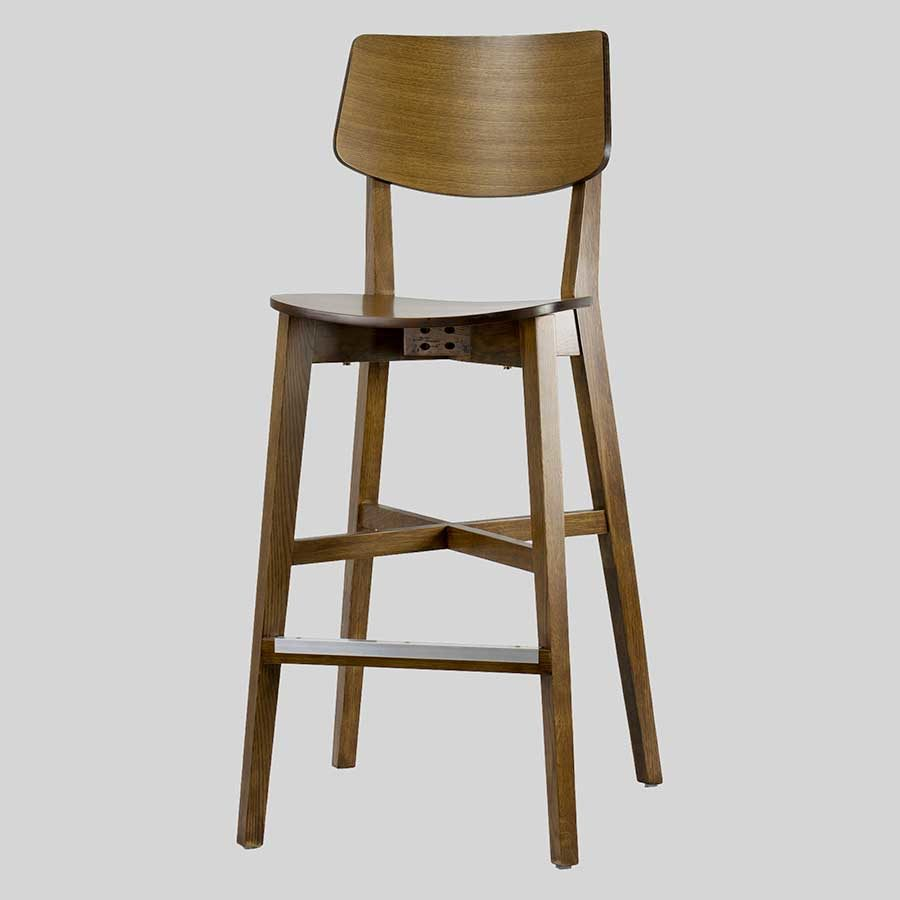 Vinnix timber high back bar stool - Light Walnut