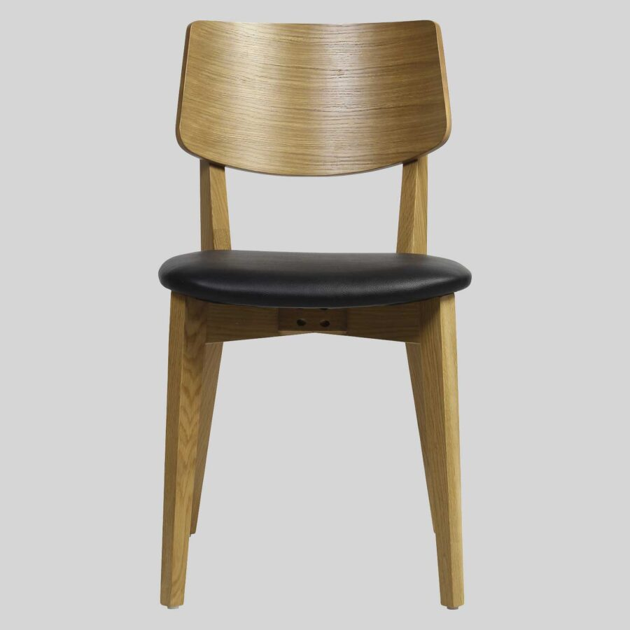 Vinnix Chair - Light Oak - Black PU Seat