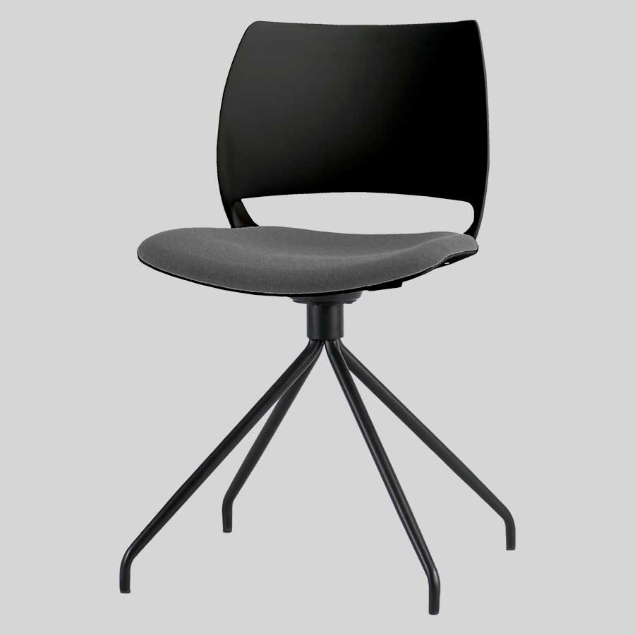 Bella Chair - Black Shell, Black Trestle, Charcoal Fabric Seat Pad
