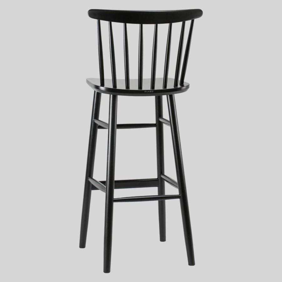 Spoke back timber bar stool - Black