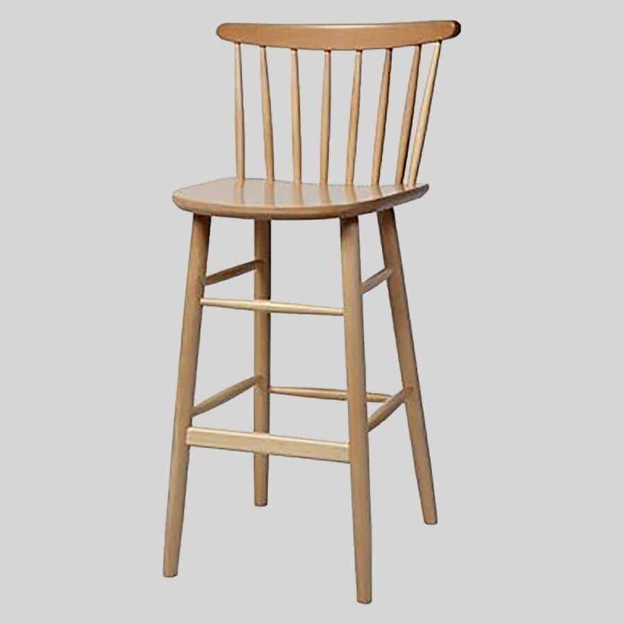 Spoke back timber bar stool - Natural