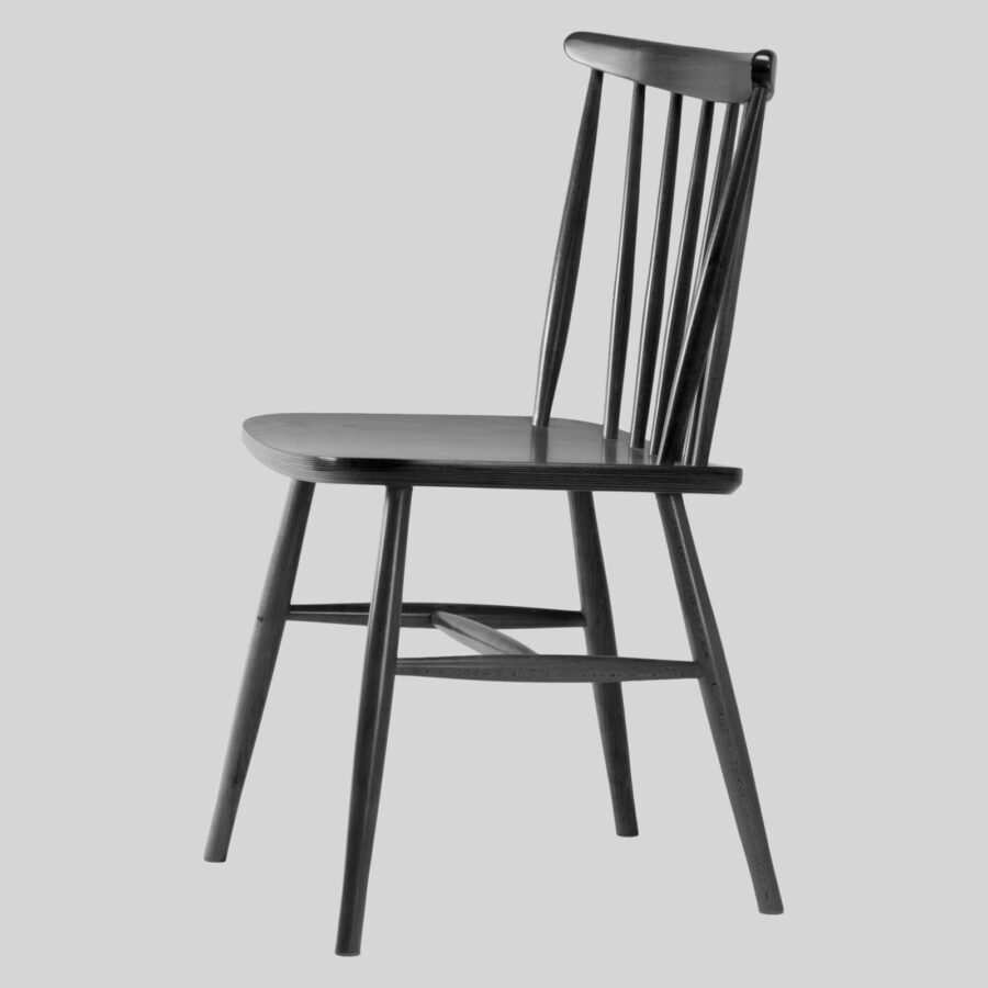 Spoke Back Timber Chair - Black