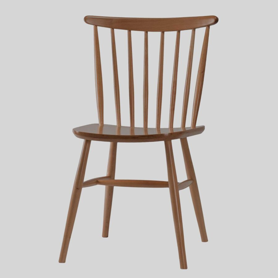 Spoke Back Timber Chair - Light Walnut
