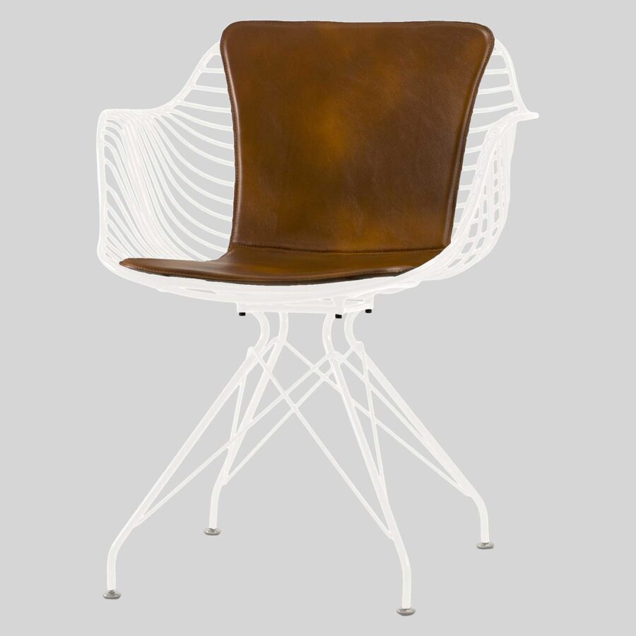 Bronx Wire Armchair with Saddle Pad - White