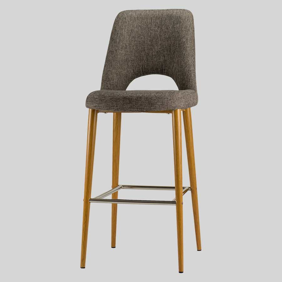 Mulberry Barstool with Backrest-Ash-Fabric, Light Oak Metal Frame