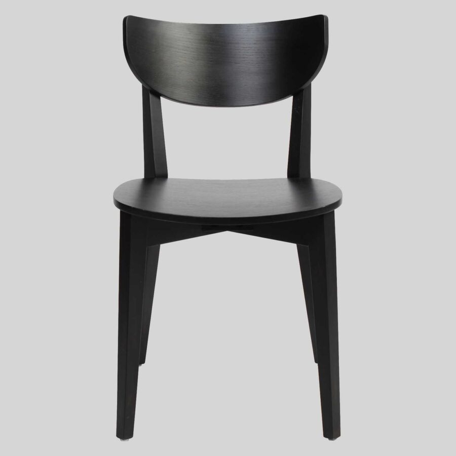 Romano Chair - Black, Timber Seat