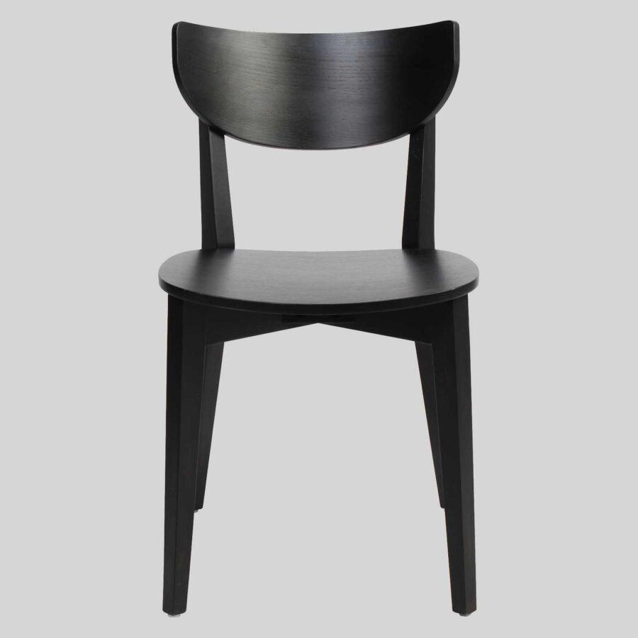 Romano Chair - Black, Timber Seat