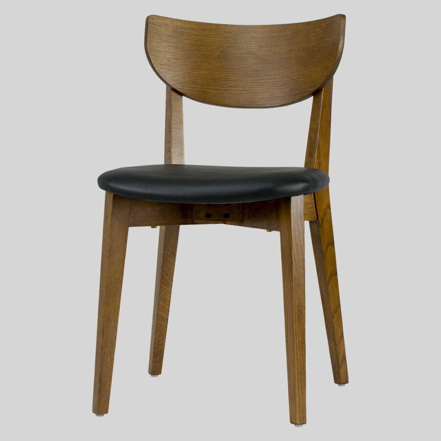 Romano Chair - Light Walnut, Black PU Seat