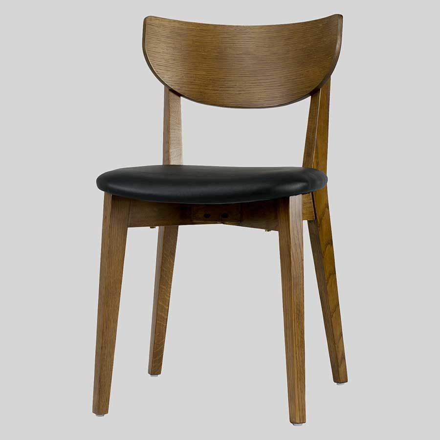 Romano Chair - Light Walnut, Black PU Seat