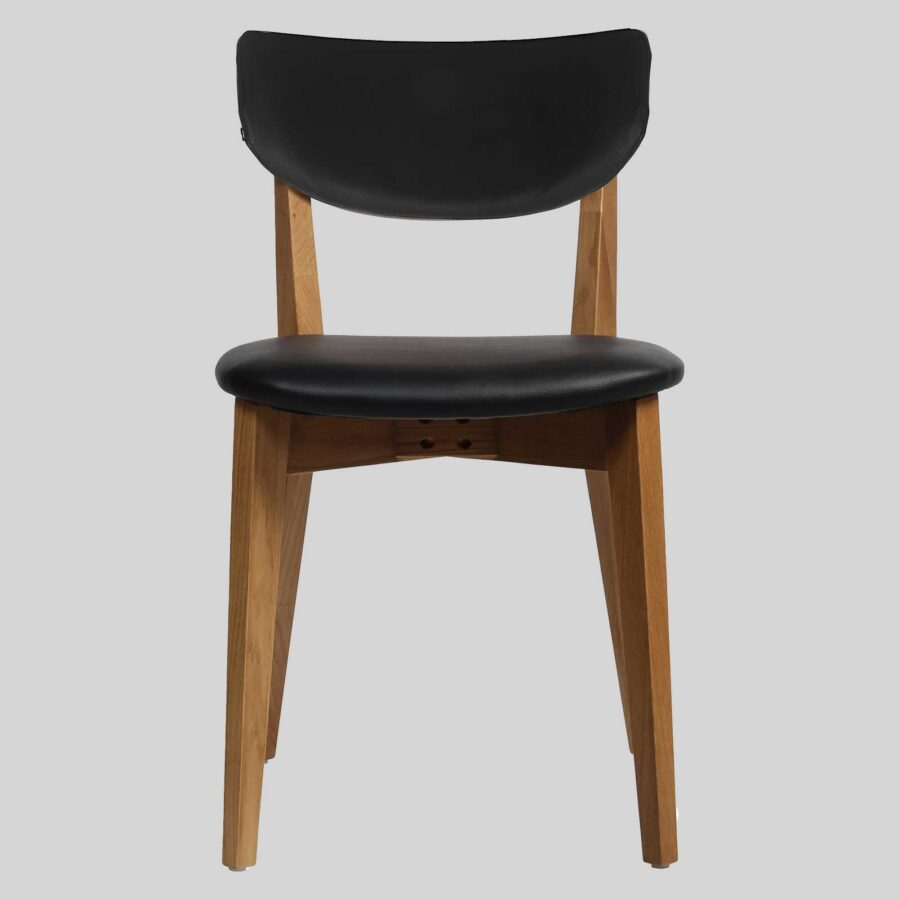 Romano Side Chair - Light Oak with Black Vinyl Seat and Backrest